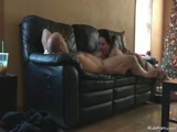 Christmas blowjob on the couch