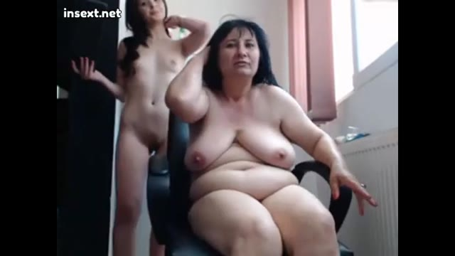 Mother and daughter on webcam