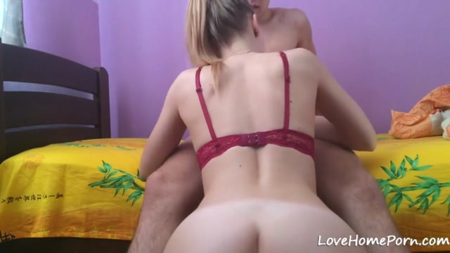 Hot blonde helps a lucky guy cum on her ass