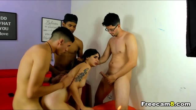 Babe Gets Pounded by Three Dudes
